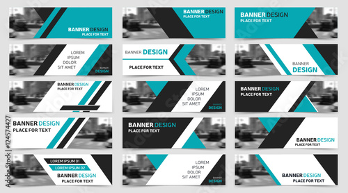 Set of blue horizontal business banner templates modern technology set of blue horizontal business banner templates modern technology design wajeb Image collections