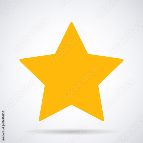 Gold Star Icon Ranking Mark Isolated On White Background Modern