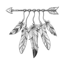 Vintage Nativity Hand Drawn Arrow With Feathers. Tribal Boho Indian Dreamcatche Talisman Isolated On White Background. Vector Illustration