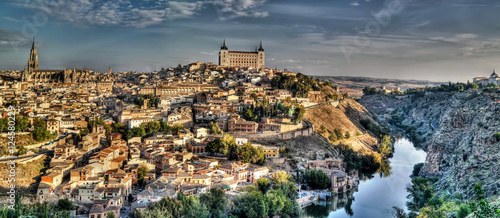 Panorama of the old city of Toledo, Tagus river, Spain