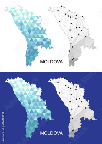 Moldova map in geometric polygonal style  Abstract gems