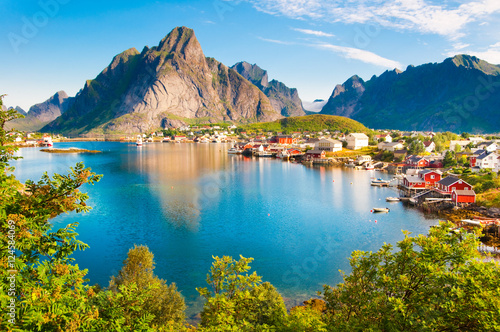 Poster Scandinavië Lofoten islands landscape in Norway