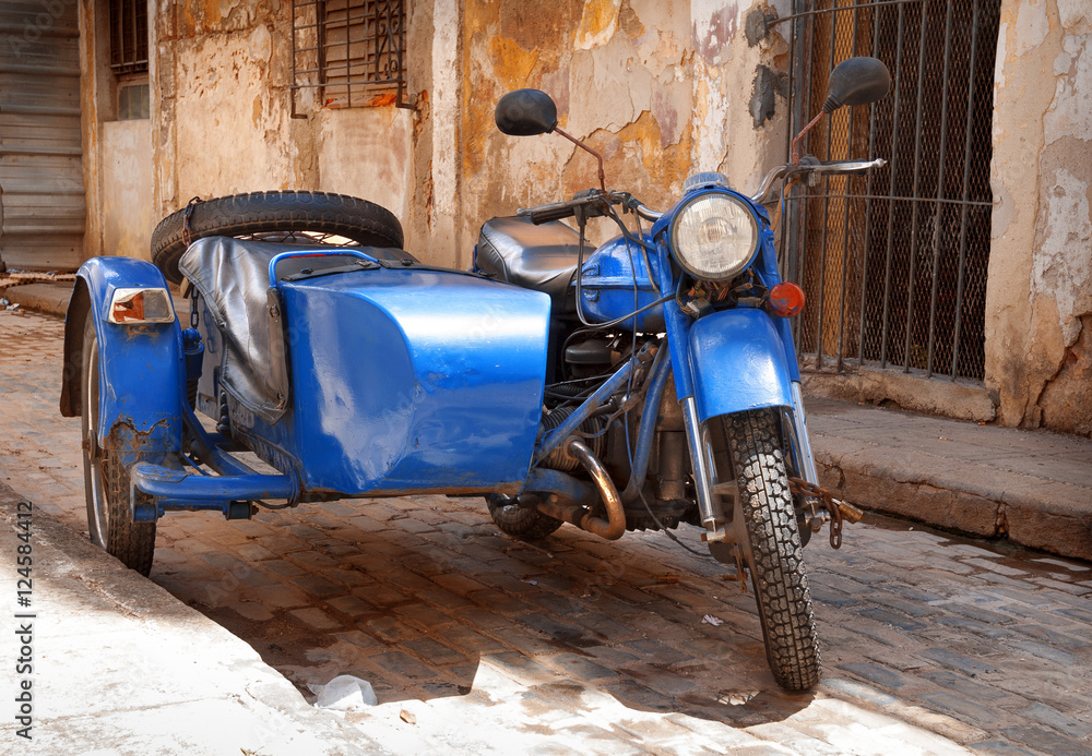 Fototapeta antique motorcycle with sidecar