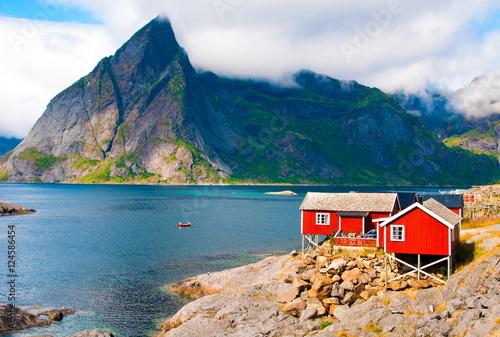 Spoed Foto op Canvas Scandinavië Tipical red houses on Lofoten islands, Norway
