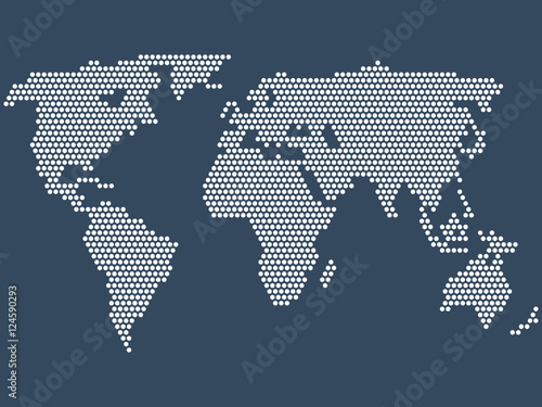 Dotted world map, vector Canvas Print