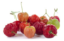 Acerola Cherry Of Thailand Or Barbados Cherry On White Backgroun