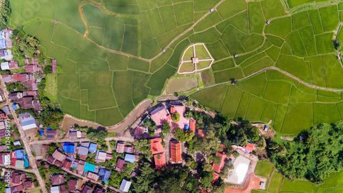 farma-ryzowa-i-wioska-widok-z-lotu-ptaka