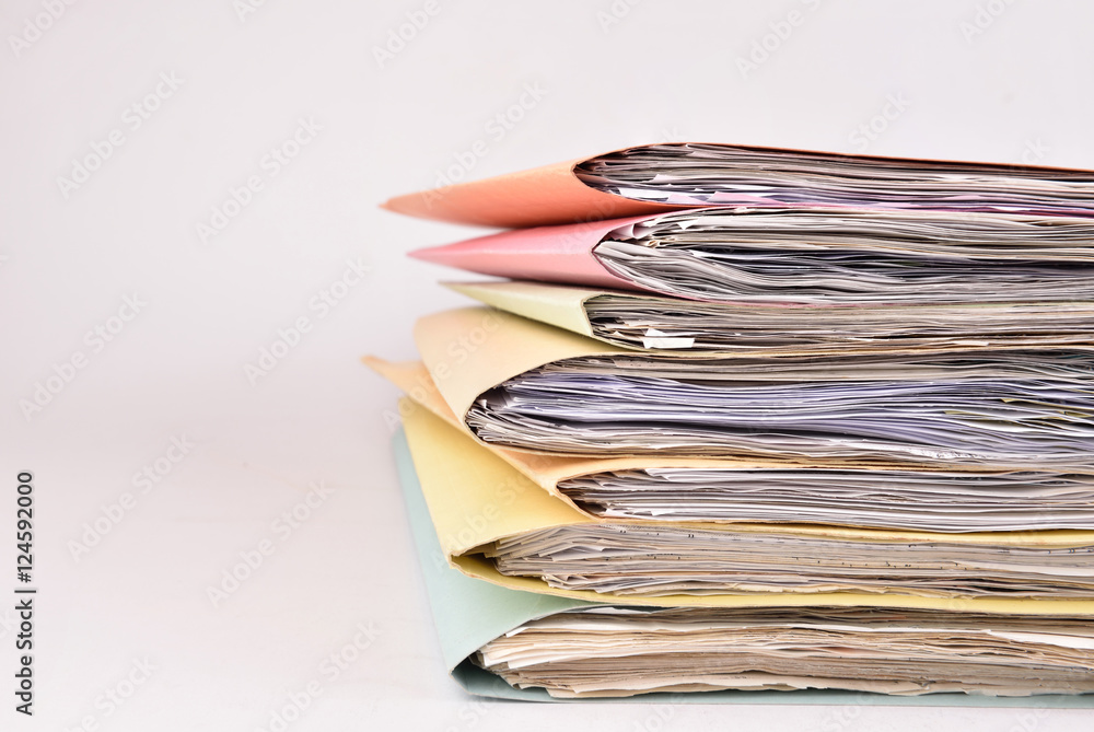 Fototapety, obrazy: paperwork Stacked files on isolated background