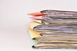 canvas print picture - paperwork Stacked files on isolated background
