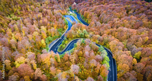 Aerial drone view of a curved winding road through the forest hi
