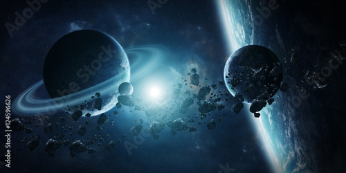 Sunrise over distant planet system in space 3D rendering element