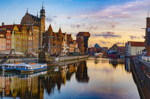 Poster Ville sur l eau Cityscape of Gdansk in Poland