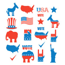 American Elections Icon Set. R...