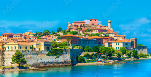 Fotografie, Obraz  Panoramic view over Portoferraio town of  isola d'Elba, Elba island in Tuscany region, Italy