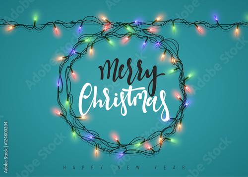 Christmas lights garland pine frame vector download