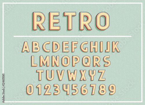 Retro Fonts And Abc Letters Print Typography Vector Illustration Type Font Vintage Alphabet