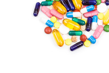 Various Color Pills And Capsules Close Shot