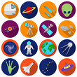 Space set icons in flat style. Big collection space vector symbol stock illustration
