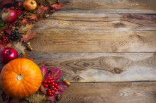 Thanksgiving  Or Fall Greeting Background With Orange Pumpkins A