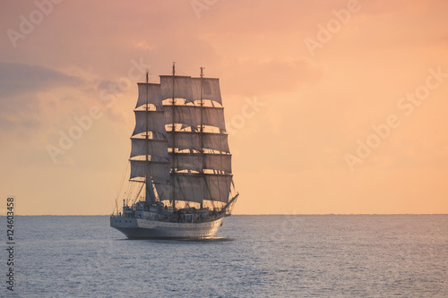 Ancient sailing ship in the sea - 124603458