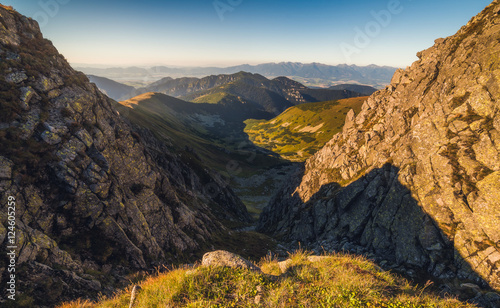Spoed Foto op Canvas Grijze traf. Mountain Landscape in Light of Setting Sun. View from Mount Dumbier in Low Tatras, Slovakia. West Tatras Mountains Background.