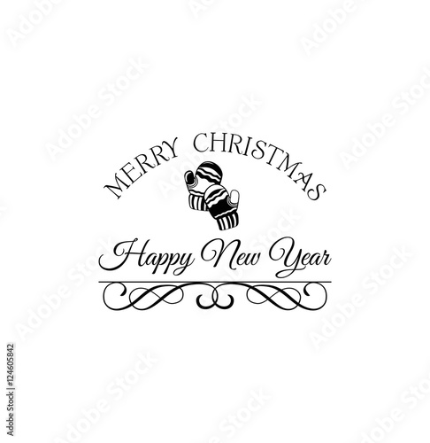 merry christmas and happy new year label template for greeting cards