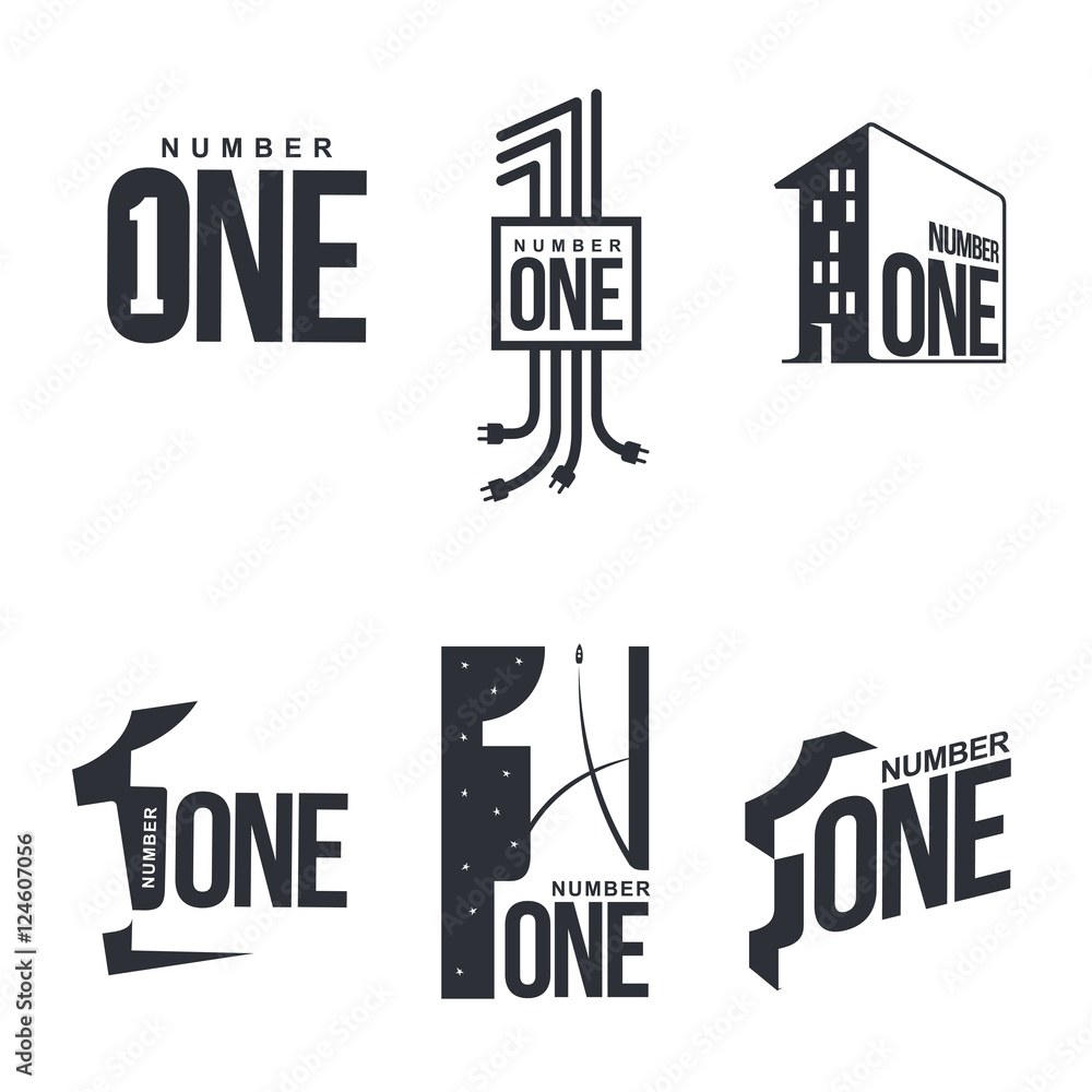 Fototapeta Set of black and white number one logo templates, vector illustrations isolated on white background. Black and white graphic number one logo templates, corporate identity