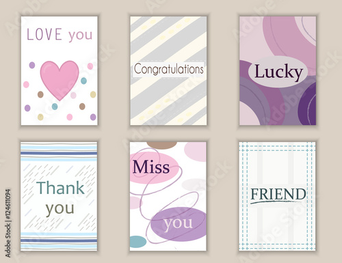graphic about Printable Miss You Cards called Adorable hand drawn doodle postcards, playing cards, handles with
