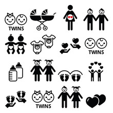 Twin Babies Icons Set - Double...