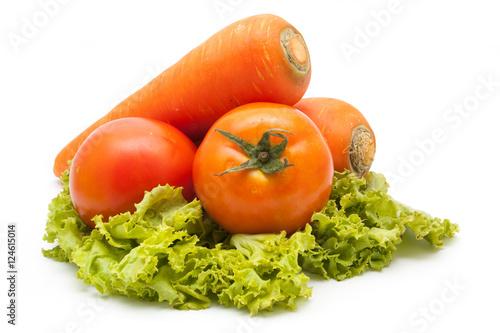 Fotografie, Obraz  fresh vegetables carrot and tomato isolated