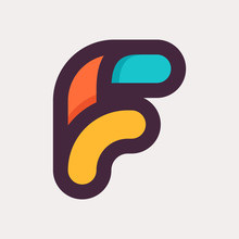 F Letter Colorful Logo. Flat Style Design.