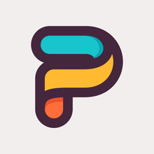 P Letter Colorful Logo. Flat Style Design.