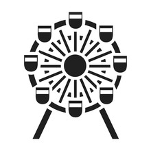 Ferris Wheel Icon In Black Sty...