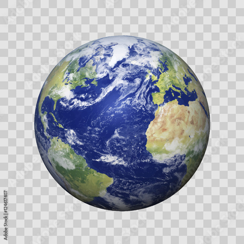 Realistic Earth with shadow on isolated background vector eps10. Elements of this vector furnished by NASA Wall mural