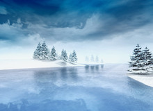 Frozen Lake With Trees And Clo...