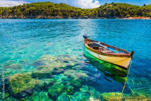 Boat in Fetovaia beach, Elba Island, Tuscany, Italy.