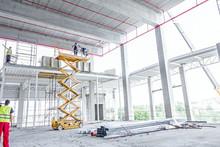 Scissor Lift Platform On A Construction Site
