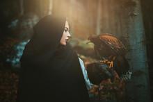 Dark Hooded Woman And Hawk