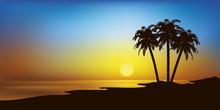 Landschaft Mit Strand Und Palm...