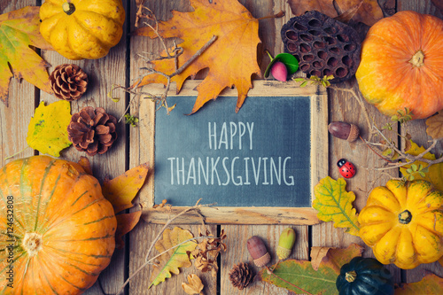 Fotografie, Obraz  Thanksgiving background with chalkboard