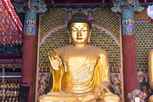 A big golden Buddha statue inside an ancient temple Canvas Print