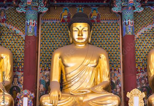 Photo  A big golden Buddha statue inside an ancient temple