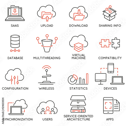 Vector set of 16 modern thin line icons related to cloud computing service and data storage Canvas Print