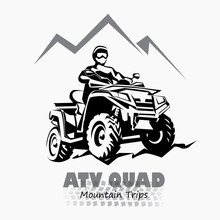 Atv, Quad Bike Stylized Silhouette Vector Symbol, Design Element