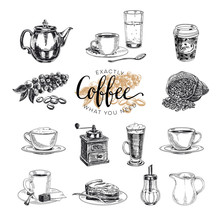 Vector Hand Drawn Coffee Set. ...