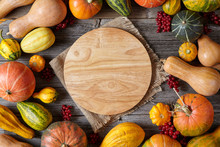 Autumn Pumpkin Harvest Decoration Frame Empty Blank Space For Design Text With Cutting Board Thanksgiving Dinner Or Halloween Setting On Vintage Wooden Background Wallpapper
