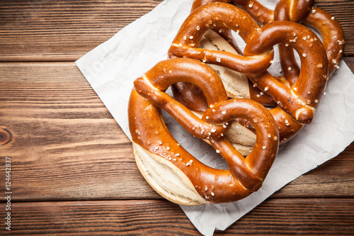 Pretzels on wooden table