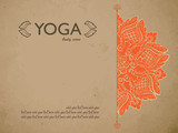 Yoga gift certificate template with mandala and text space. Concept for yoga studio, beauty salon, spa, flyer, banner, card, vector illustration. - 124643284