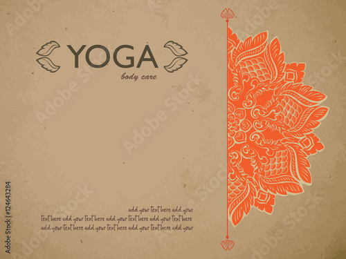 Yoga Gift Certificate Template With Mandala And Text E Concept For Studio Beauty Salon Spa Flyer Banner Card Vector Ilration