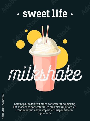 Fotografie, Obraz  Sweet life - blackboard restaurant sign, poster with cup of milkshake